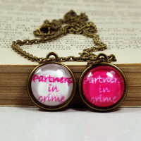 "Tiny ""Partners In Crime"" Necklaces, BFF Matching Necklaces, Best Friends Jewelry, Glass Dome Resin Jewelry"