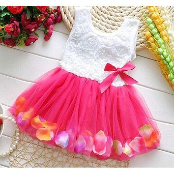 Kids Baby Girls Beautiful Flower Dress Princess Sleeveless Mini Tutu Dress Pink Yellow Red Baby Girls Dress