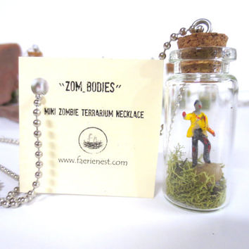 ZoM-BoDieS....Zom-Body Loves YOu Miniature Zombie Terrarium Miniature Zombie Pets Undead Walking Dead Zombie Necklace
