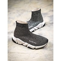 Balenciaga Speed Stretch Knit Mid Sneakers Grey Socks Shoes - Sale-1