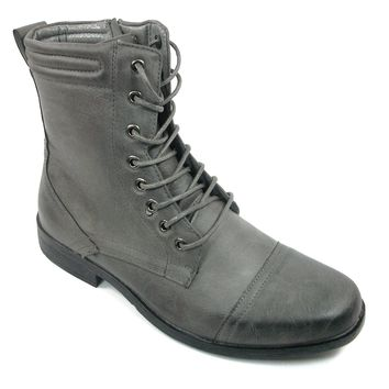 Men's Bonafini Calf High Lace Up Military Combat Boots D-705 Grey