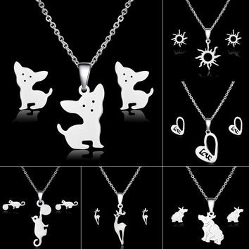 Animal Dog Cat Jewelry Sets for Women Deer Heart Stainless Steel Necklace Earrings Jewelry Sets Wedding Bride Jewelry Set