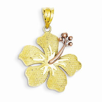 14k Two tone Yellow With Rose Hibiscus Charm