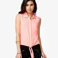 Pyramid Studded Tie-Front Shirt | FOREVER 21 - 2026825513