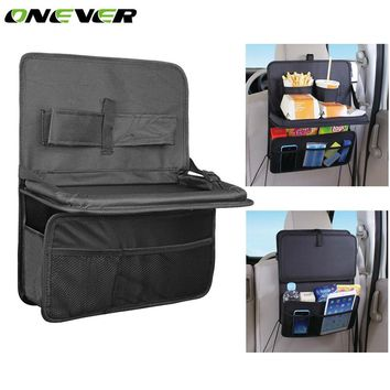 Car Storage Bag Oxford Foldable Tray Organizer Auto Travel Seat Back Multi-pocket Hanging Bag
