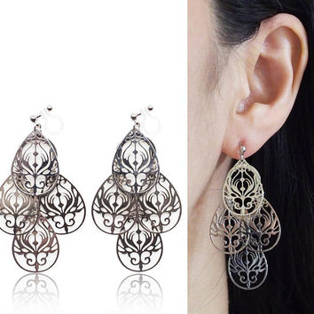Chandelier Filigree Silver Invisible Clip On Earrings Dangle Boho Clip Earrings Bohemian Clip-ons Statement Earrings Non Pierced Earrings