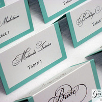 Tiffany Blue Place Cards - Double Sided Wedding Place Cards - Breakfast at Tiffany Reception Escort Cards - Tiffany Blue Party Theme