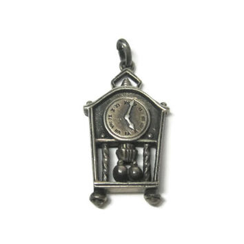 Vintage German Sterling Articulated Pendulum Clock Pendant
