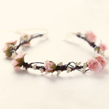 Pink rose circlet, Bridal hair crown, Woodland wedding wreath, Rustic flower crown, Bridal headpiece - BALLERINA