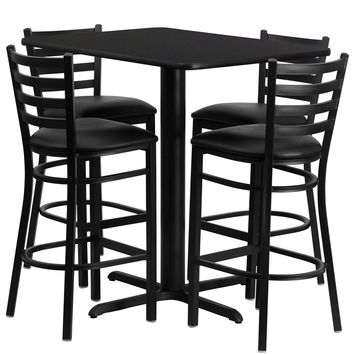 24''W x 42''L Rectangular Black Laminate Table Set with Ladder Back Metal Bar Stool and Black Vinyl Seat, Seats 4