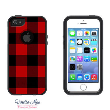 Otterbox Commuter Apple iPhone 5 5s Personalized Cell Phone Case Red Black Buffalo Check Lumberjack Plaid Monogram Protective Cover OB-1146
