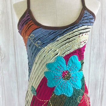 Tank Top Patch work Boho chic Hippie festival clothing embroidered Unique funky Vest  Embellished Top Vegan fashion Handmade gift women art