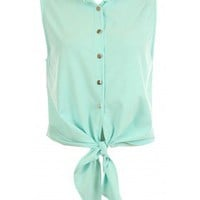 Mint High Low Button Top - 29 and Under