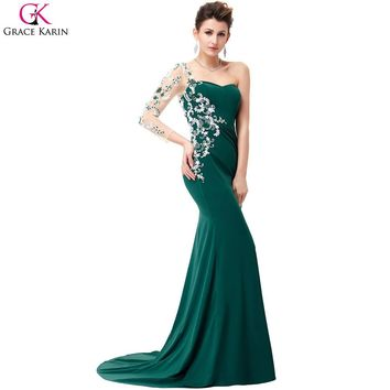 One Shoulder Long Sleeve Evening Dresses 2017 Grace Karin Emerald Green Lace Appliques Backless Mermaid Prom Evening Gowns