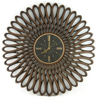 Vintage Burwood Sunburst Wall Clock in Dark Brown - Retro, Mid Century 1960s Wall Decor