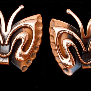 Vintage Renoir Copper Butterfly Earrings Signed Figural Clip Estate Jewelry