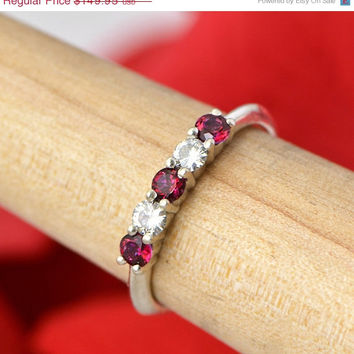 New Year Sale Red Topaz Ring - Sterling Silver Ring - Gemstone Jewelry - Red Ring - Red Gemstone - Moissanite Ring - Topaz Ring
