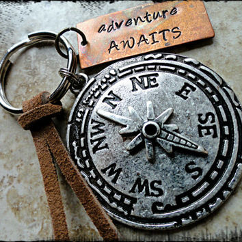 Adventure Awaits Copper and Silver Compass Charm Hand Stamped Keychain Traveler Keychain