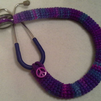Purple Tie Dye Peace Symbol  Button Stethoscope Cover, Nurses Stethoscope Covers, LPN, RN, CNA, medical fashion accessories, crochet