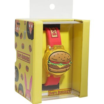 Licensed cool Bob's Burgers Flip Top Digital Hamburger Burger Wrist Watch Rubber Wristband NEW