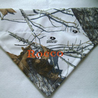 Mossy Oak -Winter- Camo Dog Bandana -Personalized  Monogrammed -Over the Collar Dog Bandana-Hunting- Dogs