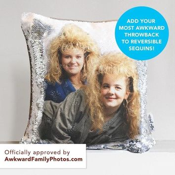 Awkward Throwback Throw Pillow: Your HIDDEN AWKWARD PHOTO on Reversible Sequins! - COVER ONLY (Inserts Sold Separately)