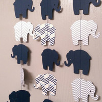 Elephant Paper Garland Navy Blue, Gray Chevron Two Sided Streamers, Baby Shower, Birthday Party, Baby Nursery