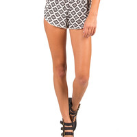 Checkmate Aztec Pom Trim Shorts - White - Large