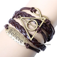 The new Believe English manual weaving bracelets, personality leather bracelet, holiday gift to a friend QNW8037