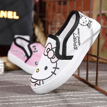 2017 Children's canvas shoes kids Hand-painted Mickey pattern and cute cat AB style popular elements baby boys girls shoes
