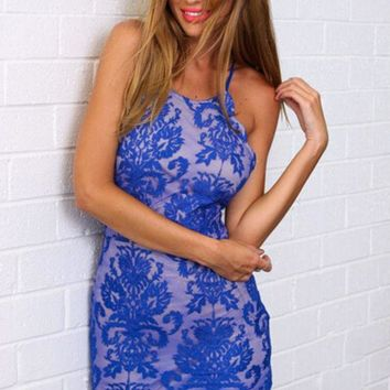 Fashion Women Sexy Trending Halter Embroidery Stunning Backless Lace Dress Blue G
