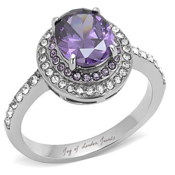 A Perfect Vintage 2CT Blue Purple Amethyst & Russian lab Diamond Engagement Ring