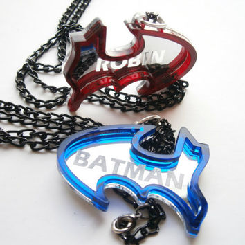 Best Friends Batman Necklaces -  Friendship Necklaces - Engraved Batman and Robin -  Laser Cut Blue And Red Acrylic