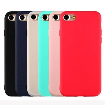 Hot Sales Cute Candy Colors Soft TPU Silicon phone cases for Apple iPhone 5 5S SE 6 6S 7 Plus Fashion Back Coque Case YC1951