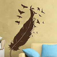 Feather Wall Decal Flock of Birds Vinyl Sticker Decals Home Decor Bedroom Art Design Interior NS961