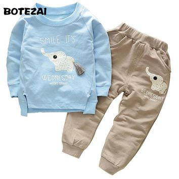 2017 Spring Fashion Style Autumn Cartoon Elephone Baby Boys Sets Long Sleeve Shirt+Jeans Pants 2Ps Boys Clothes Kids Clothing