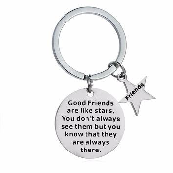 'Good Friends Are Like Stars..' Best Friends Gift Keychain Friendship Gifts Key Chains Rings Stainless Steel Keyring Pendant BFF
