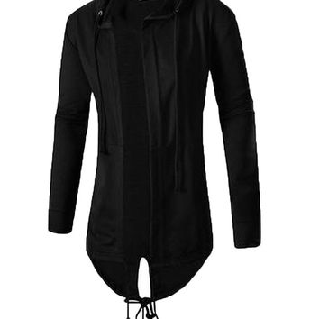 xiaokong Men's Hood Sweatshirt Drawstring Comfy Trench Coat Outwear