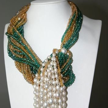Yellow Green Crystal And White Freshwater Pearl Necklace