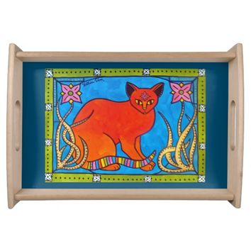 Indian Cat With Lilies Colorful Cat Design Serving Tray