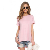 Short Sleeves Side Slits High Low Loose T-Shirt