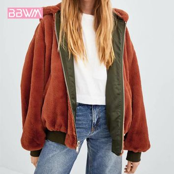 Long sleeve black 2018 winter new women's double-sided wearing bomber jacket jacket wild loose faux fur hooded women's jacket