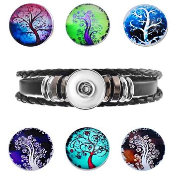 1PC Multilayer Leather Bracelet with 6PCs Tree Glass Snap Buttons
