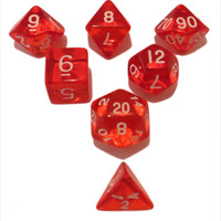 Red Translucent Color - Pack of 7 Polyhedral Dice (7 Die in Set)   Role Playing Game Dice   D4, D6, D8, D10, D%, D12, and D20