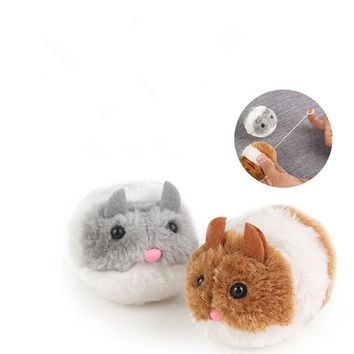 1PC Cats Toys Artificial Mouse Pulling Tail Ring Vibrate Run Forward Shock Shake Interactive Pet Little fat mouse Cat Toys