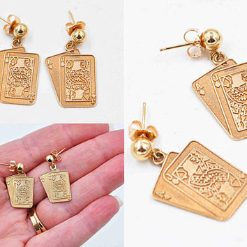 Vintage 10K Yellow Gold Playing Card Pierced Earrings, Blackjack, Casino, Twenty-One, Gold Ball, Dangle, Drop, Engraved, Fun! #c384