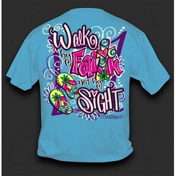 Sweet Thing Funny Walk by Faith Cross Blue Girlie Bright T Shirt