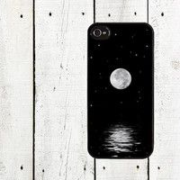 Full Moon Over Ocean Phone Case  for iPhone 44s and by Arete