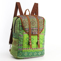 Large Exotic Dazzling Green Backpack Oriental Traditional Hand Stitched Textile