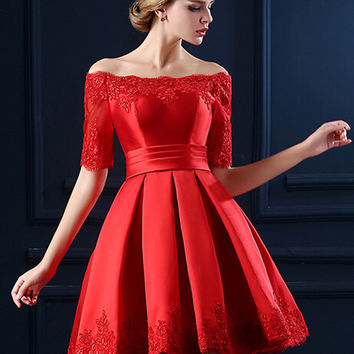 Red Off Shoulder Lace Hem Half Sleeve Lacing Back Prom Skater Dress